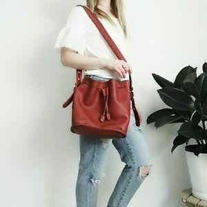 Vintage Red Wine Coach Crossbody Bag Bucket Purse